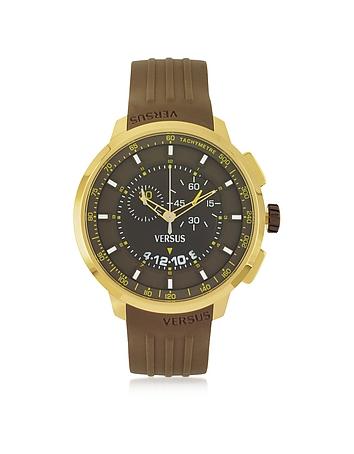 Versace Versus - Manhattan Men's Chronograph Watch w/Brown Rubber Strap
