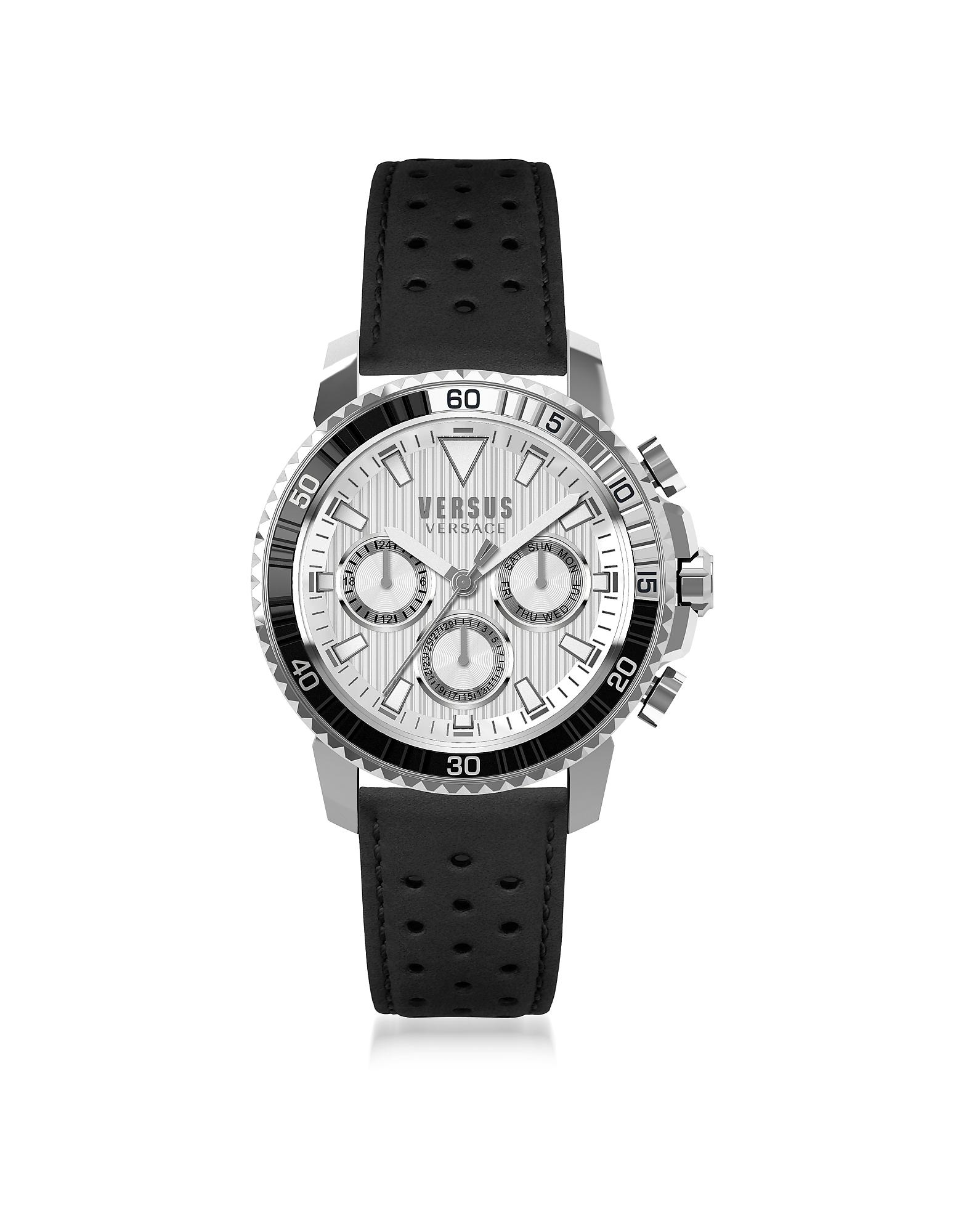 Фото Aberdeen - Серебристые Мужские Часы Хронограф из Нержавеющей Стали на Черном Кожаном Ремешке. Купить с доставкой