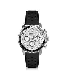 Aberdeen Silver Stainless Steel Men's Chronograph Watch w/Black Leather Strap - Versace Versus