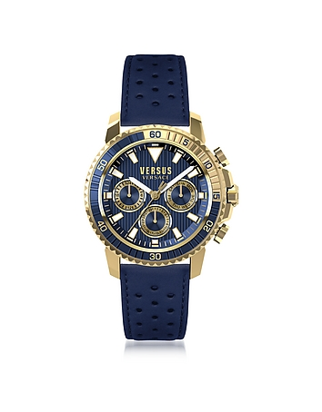 Versace Versus - Aberdeen Gold Tone Stainless Steel Men's Chronograph Watch w/Blue Leather Strap