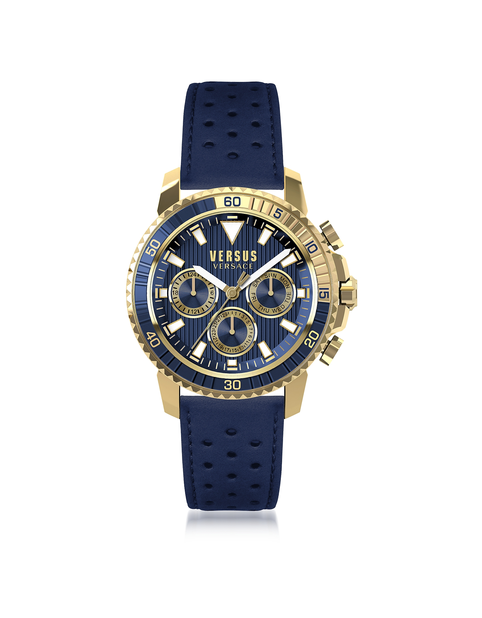 Versace Versus Men's Watches, Aberdeen Gold Tone Stainless Steel Men's Chronograph Watch w/Blue Leat