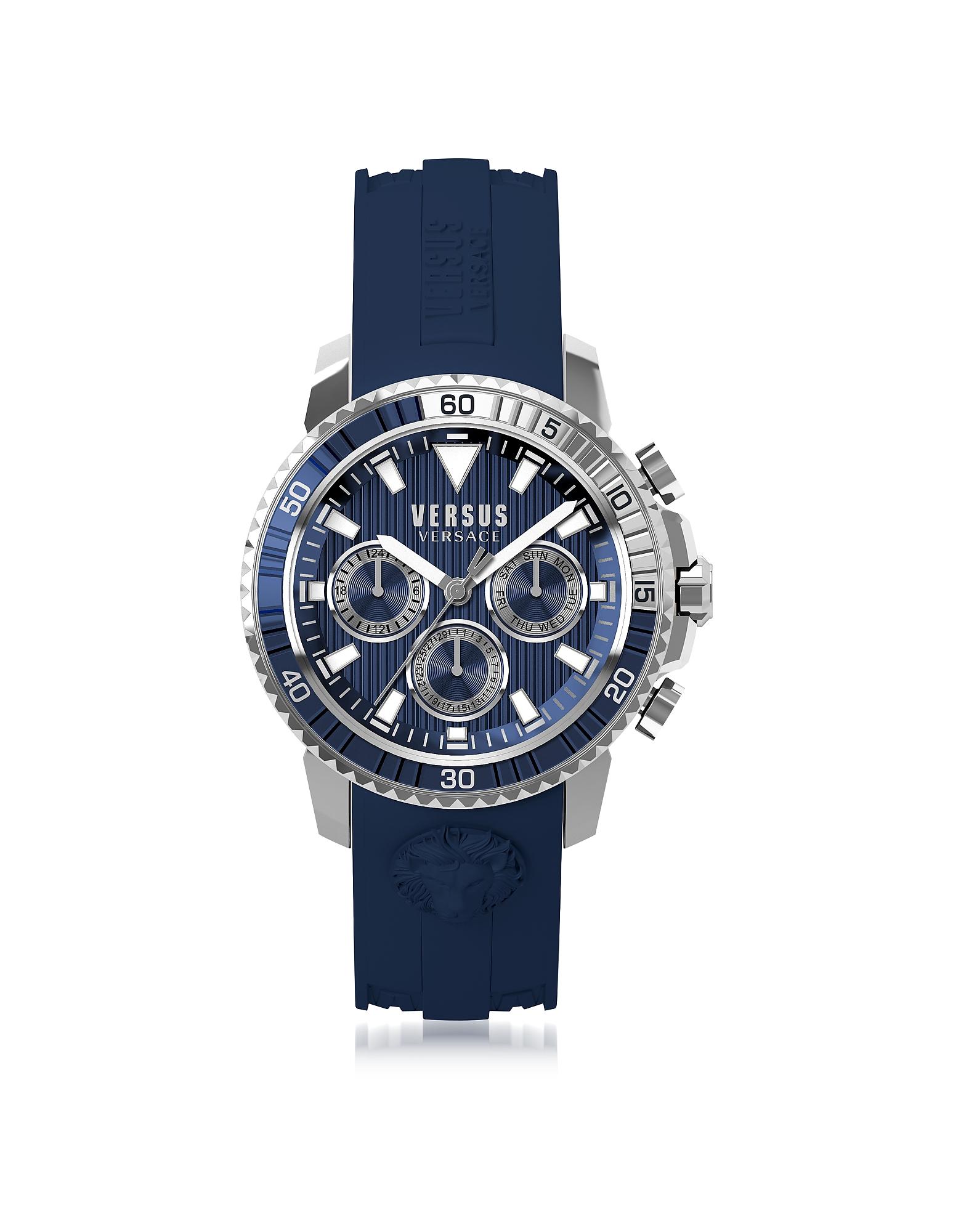 Versace Versus Men's Watches, Aberdeen Silver Stainless Steel Men's Chronograph Watch w/Blue Silicon