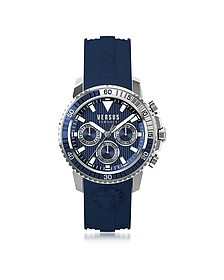 Aberdeen Silver Stainless Steel Men's Chronograph Watch w/Blue Silicone Strap - Versace Versus
