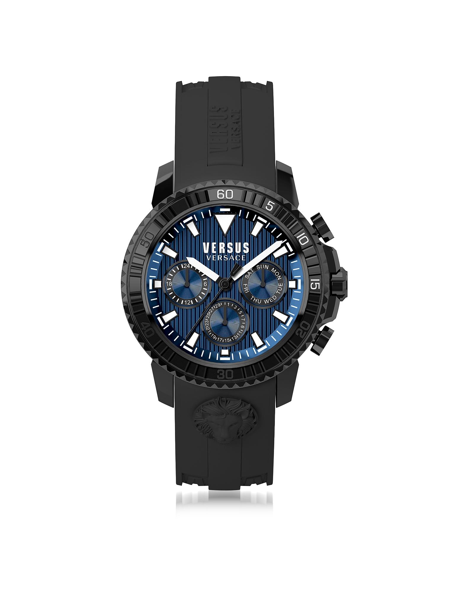 Aberdeen - Черные Мужские Часы Хронограф из Нержавеющей Стали на Силиконовом Ремешке