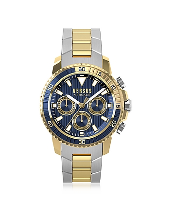 Versace Versus - Aberdeen Two Tone Stainless Steel Men's Chronograph Watch w/Blue Dial
