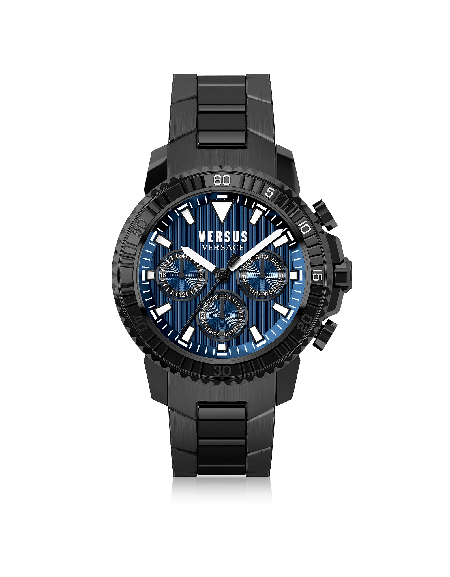 Versace Versus Men's Watches, Aberdeen Black Stainless Steel Men's Chronograph Watch w/Blue Dial