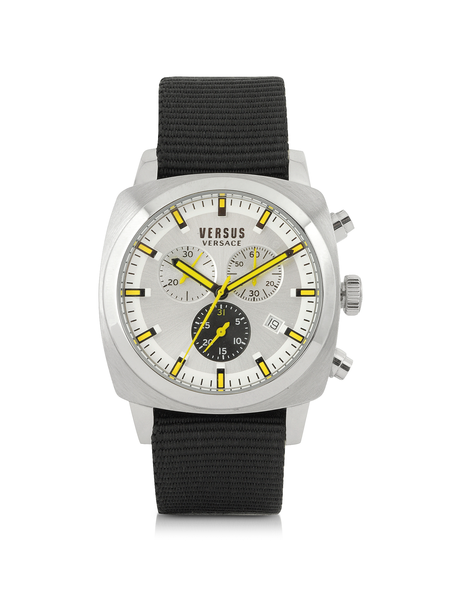 Versace Versus Men's Watches, Riverdale Silver Tone Stainless Steel and Canvas Strap Men's Watch
