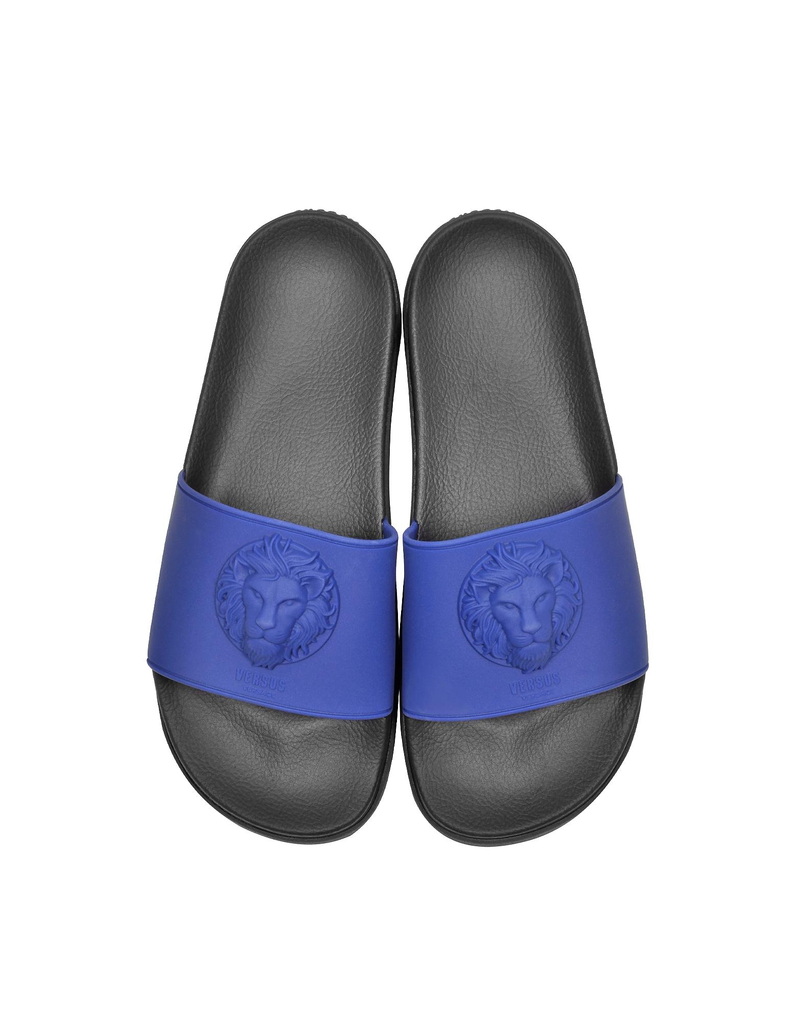 Lion Head Blue Rubber Slide Sandals