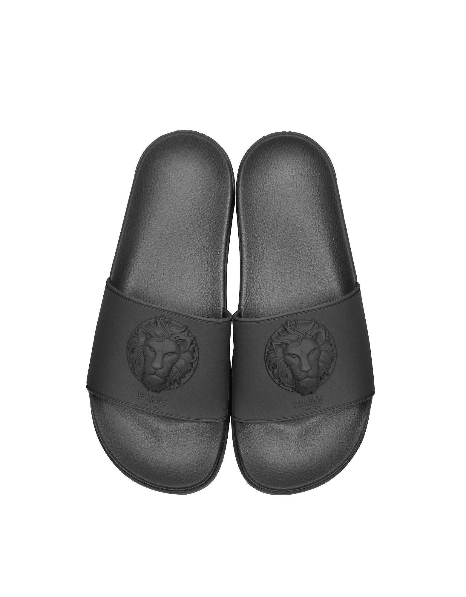 Lion Head Black Rubber Men's Slide Sandals