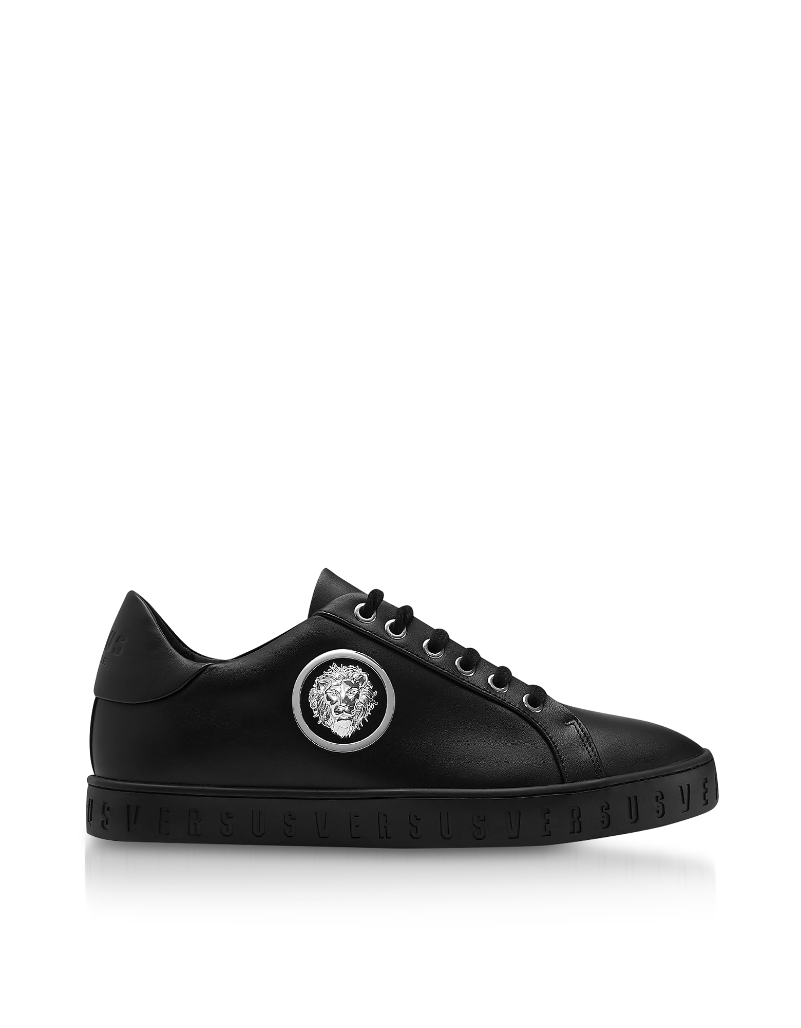 Black Leather Low Top Men's Sneakers w/Silvertone Metal Lion Head Logo