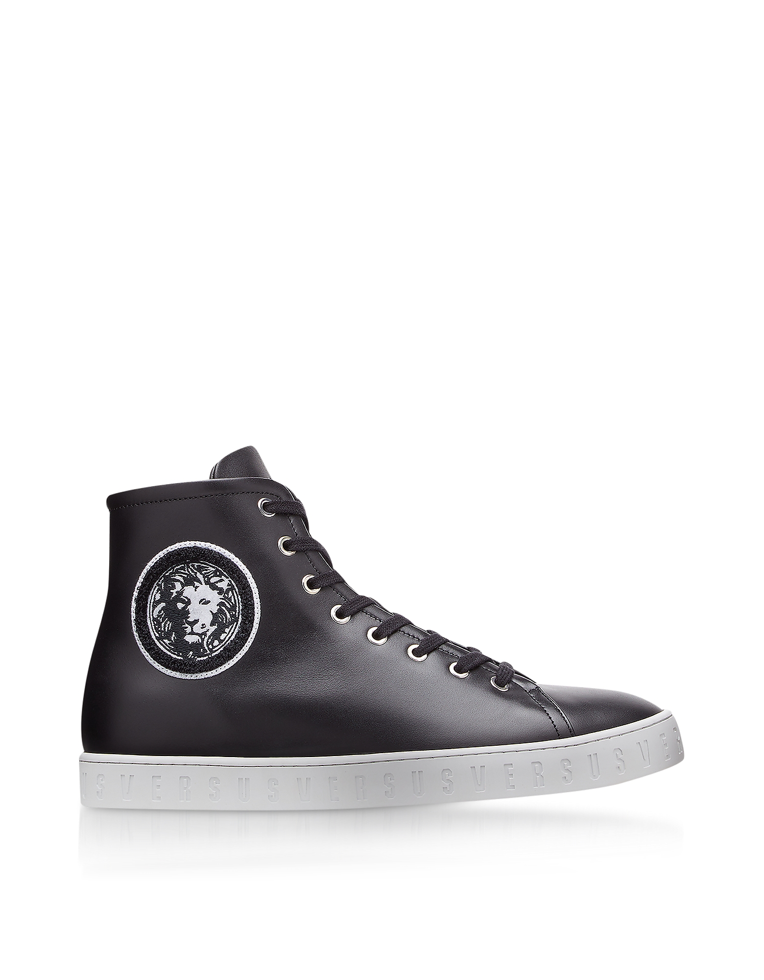 Image of Versace Versus Designer Shoes, Black Leather High Top Men's Sneakers w/Embroidered Lion Head Logo