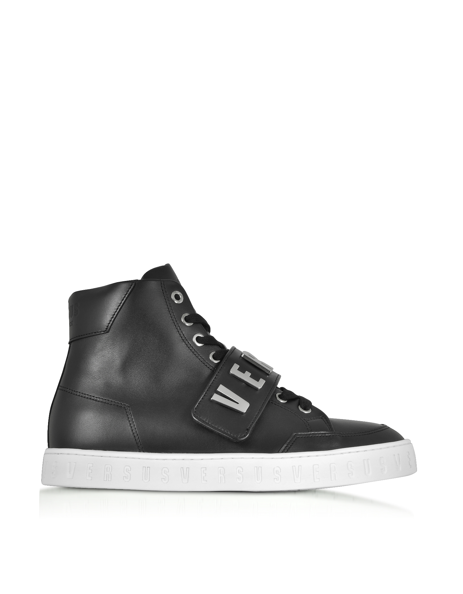 Versace Versus Shoes, Black Metal Logo Band High Top Men's Sneakers