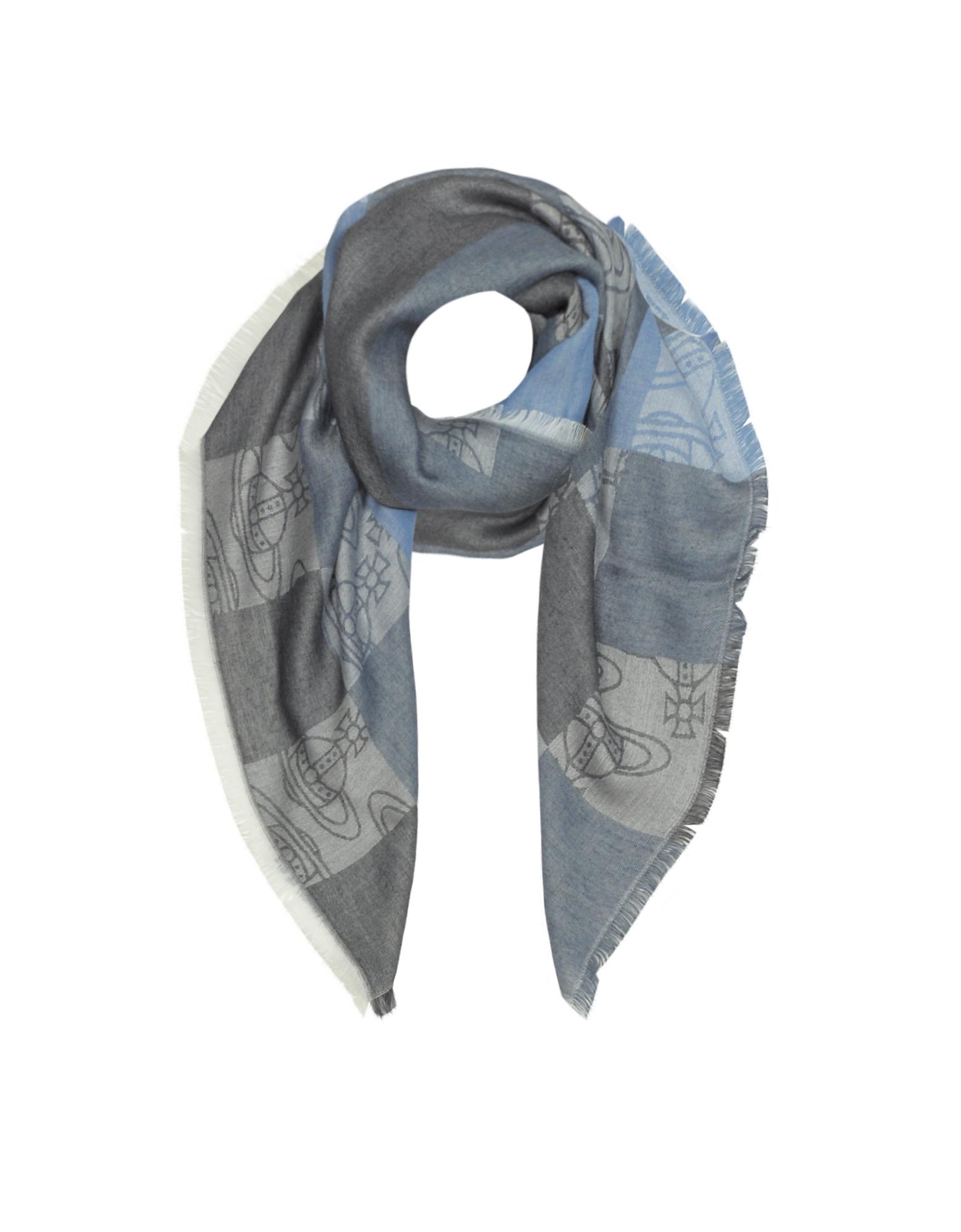 Vivienne Westwood Темно-синяя Текстурная Косынка из Вискозы и Модала