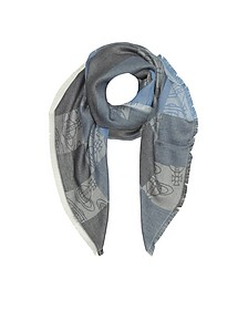 Navy Woven Viscose and Modal Square Scarf - Vivienne Westwood