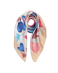 YSL Printed Stars and Hearts Ecru Silk Square Scarf - Vivienne Westwood