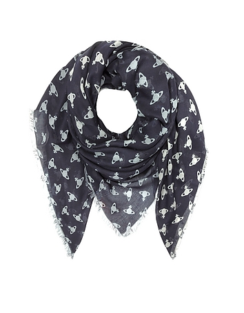 Vivienne Westwood - Navy Blue Absence of Orbs Woven Modal and Wool Wrap