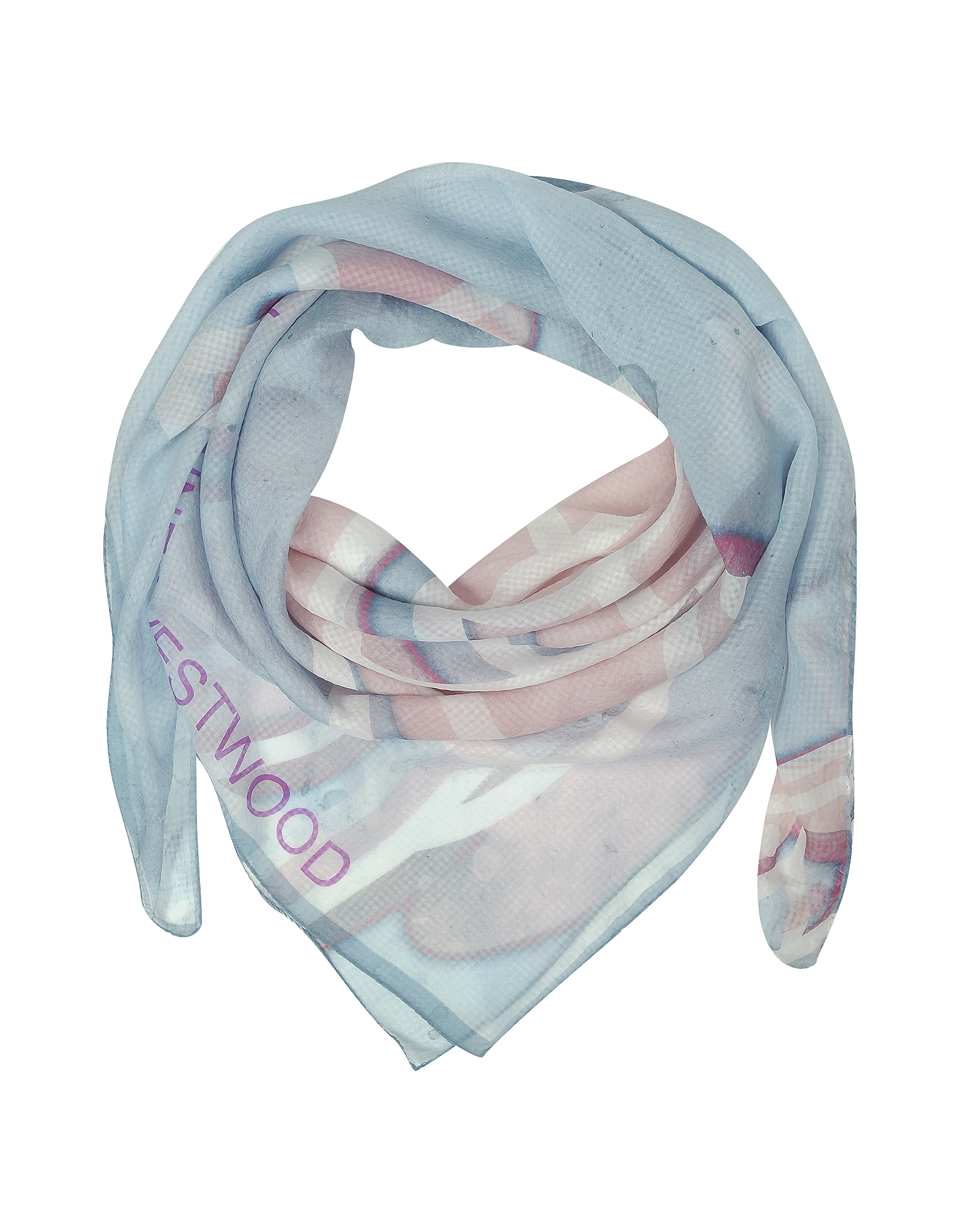 Vivienne Westwood Shawls & Wraps, Light Blue & Pink Foul Flash Orbs Print Silk Wrap