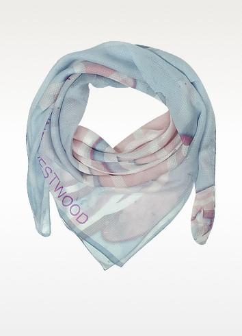 Light Blue & Pink Foul Flash Orbs Print Silk Wrap - Vivienne Westwood
