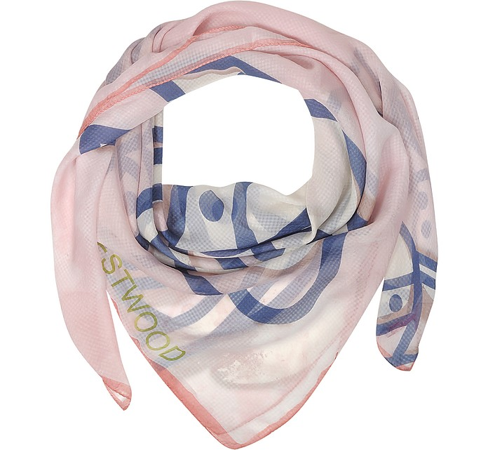 Light Pink & Navy Blue Foul Flash Orbs Print Silk Wrap  - Vivienne Westwood