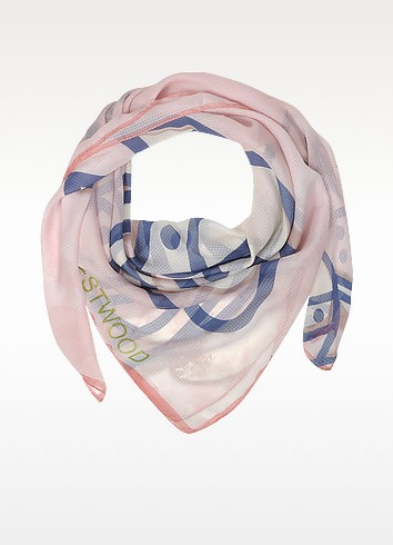 Light Pink & Navy Blue Foul Flash Orbs Print Silk Wrap  - Vivienne Westwood