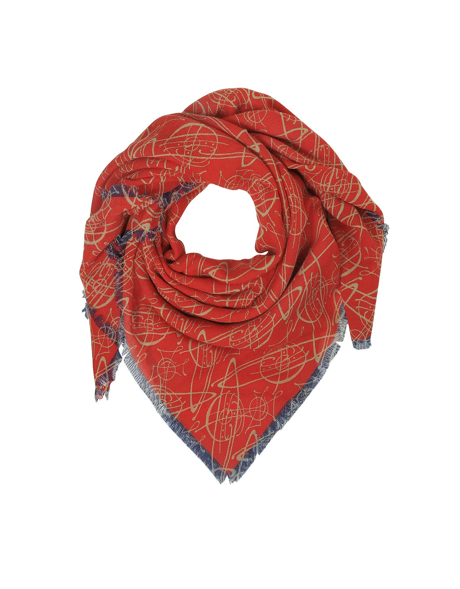 Red Graffiti Orbs Print Wool Shawl