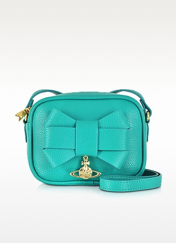 Bow Turquoise Eco-Leather Mini Camera Bag - Vivienne Westwood
