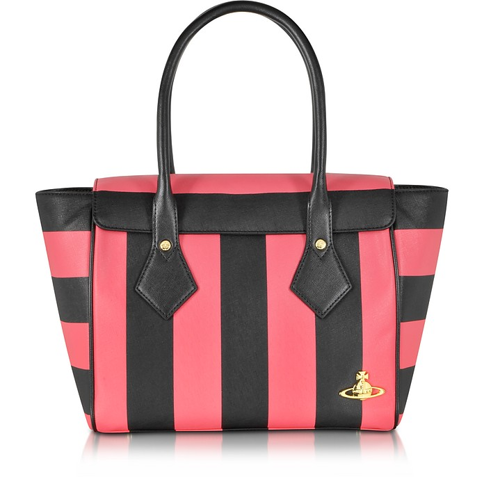 Santa Monica Black & Red Stripe Eco-Leather Tote - Vivienne Westwood
