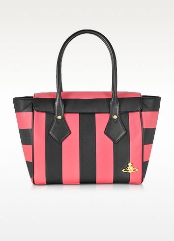 Santa Monica Black & Red Stripe Eco-Leather Tote - Vivienne Westwood