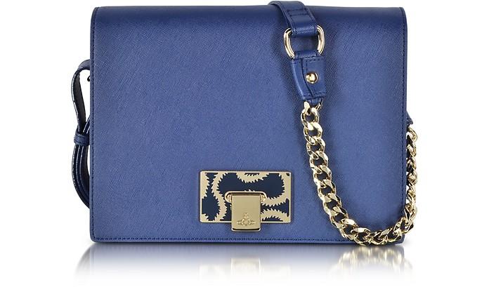 Medium Blue Opio Saffiano Leather Flap Crossbody Bag - Vivienne Westwood