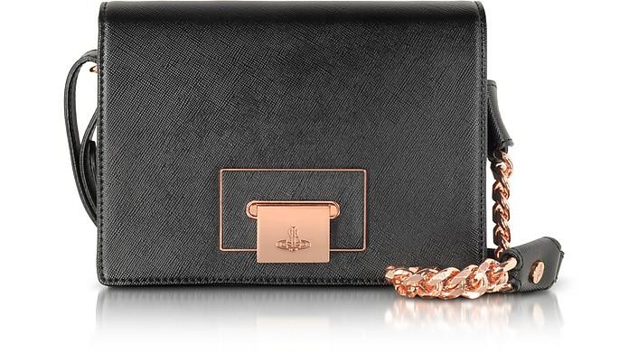 Black Opio Saffiano Leather Shoulder Bag - Vivienne Westwood