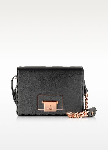 Black Opio Saffiano Leather Shoulder Bag - Vivienne Westwood