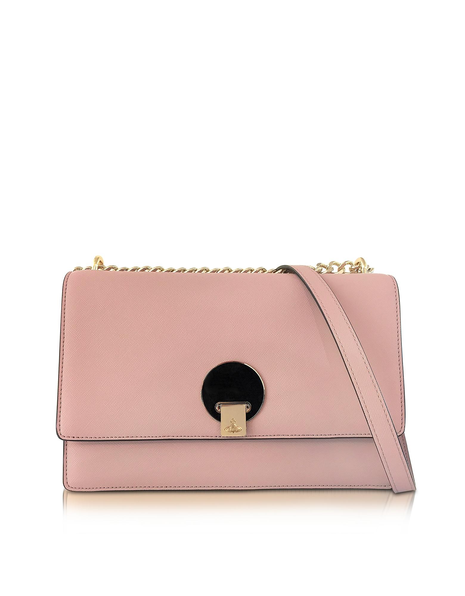 Vivienne Westwood Opio Pink Saffiano Large Shoulder Bag w/Flap Top