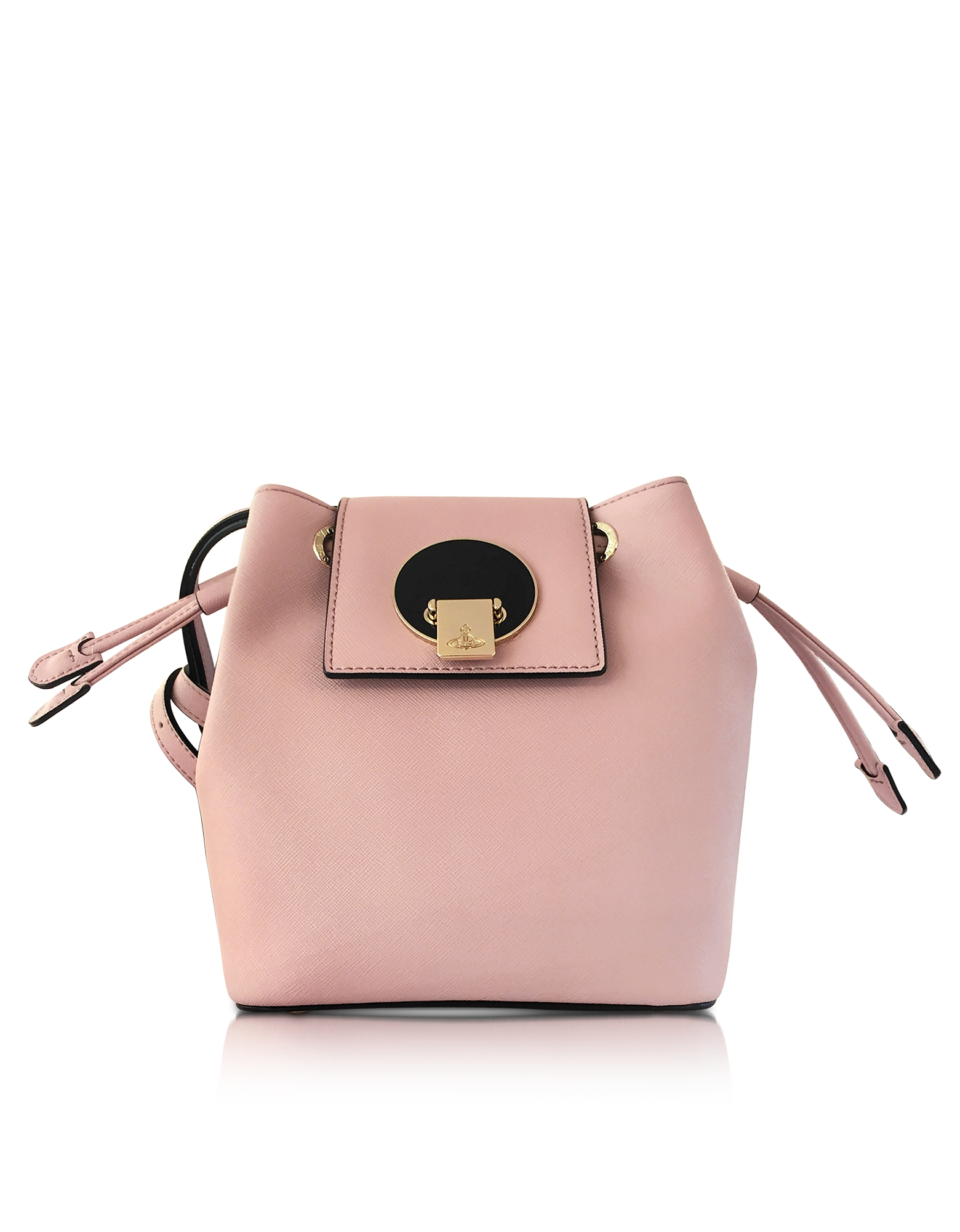 Vivienne Westwood Opio Pink Saffiano Large Mini Bucket Bag
