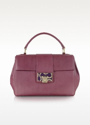 Burgundy Opio Saffiano Leather Office Satchel - Vivienne Westwood