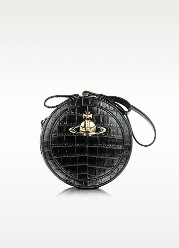 Jungle Black Embossed Crocodile Crossbody Bag - Vivienne Westwood