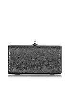 Vivienne Westwood Verona große Clutch aus metallischem Leder in schwarz vw130416-022-00