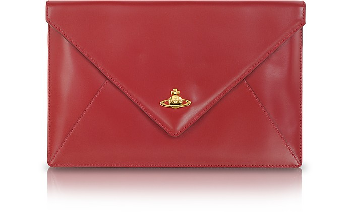 Genuine Leather Envelope Clutch - Vivienne Westwood