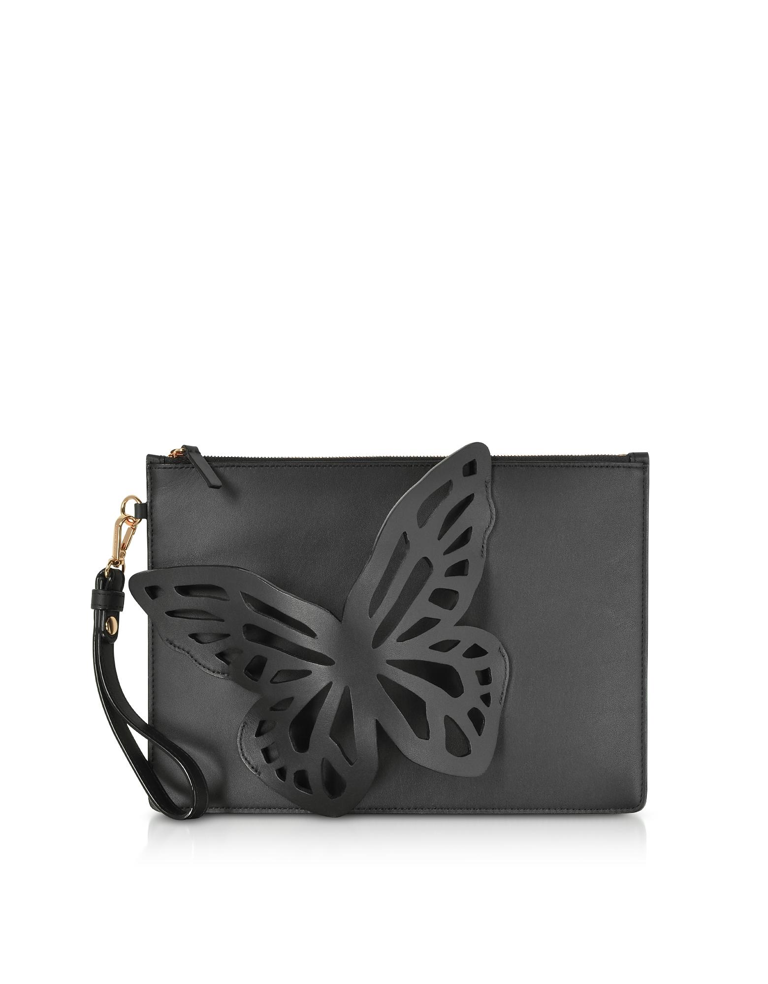 Sophia Webster Handbags, Black Flossy Butterfly Pouchette