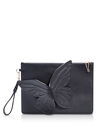 Black Leather Flossy Butterfly Pouchette - Sophia Webster