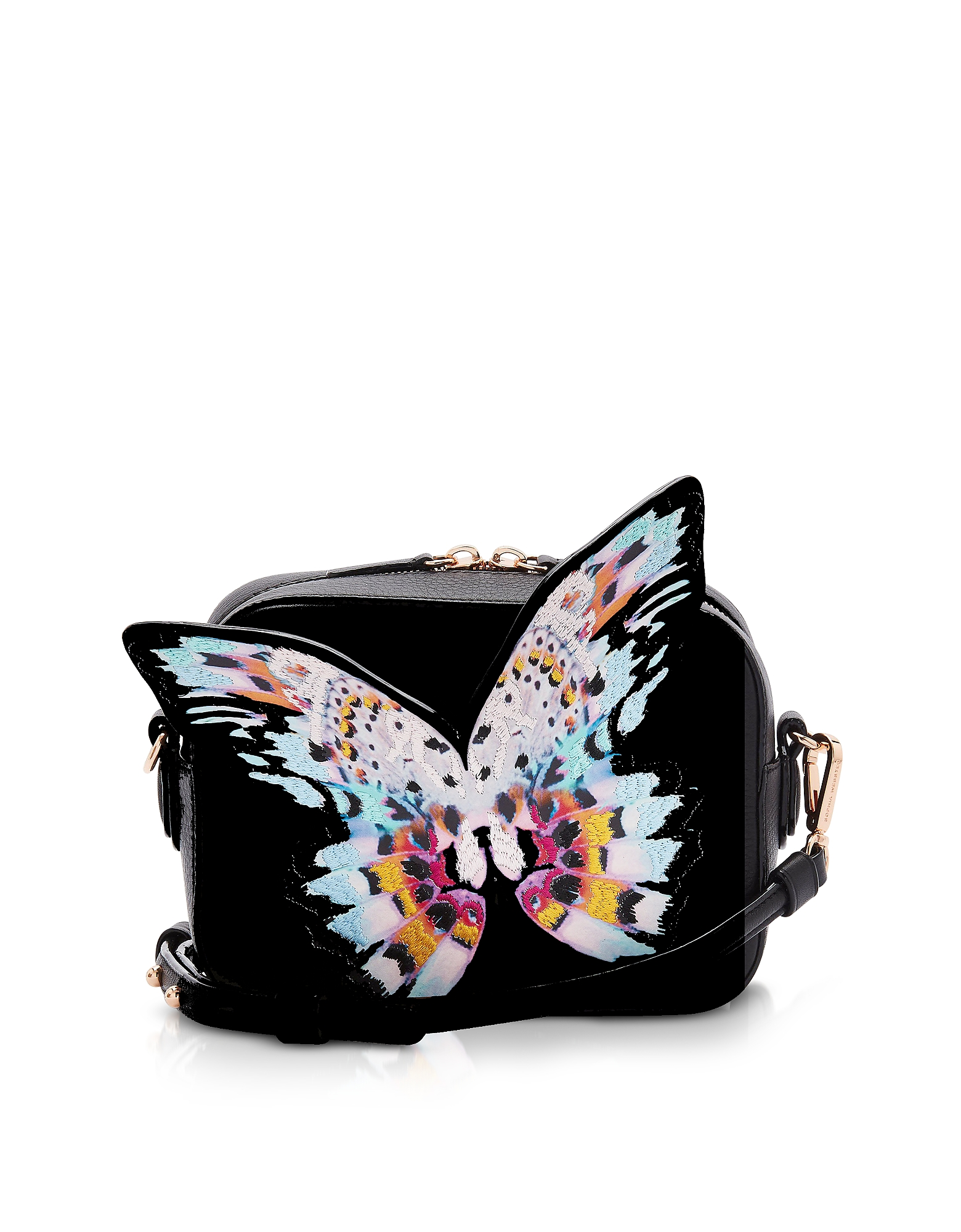 Black & Multi Flossy Butterfly Camera Bag