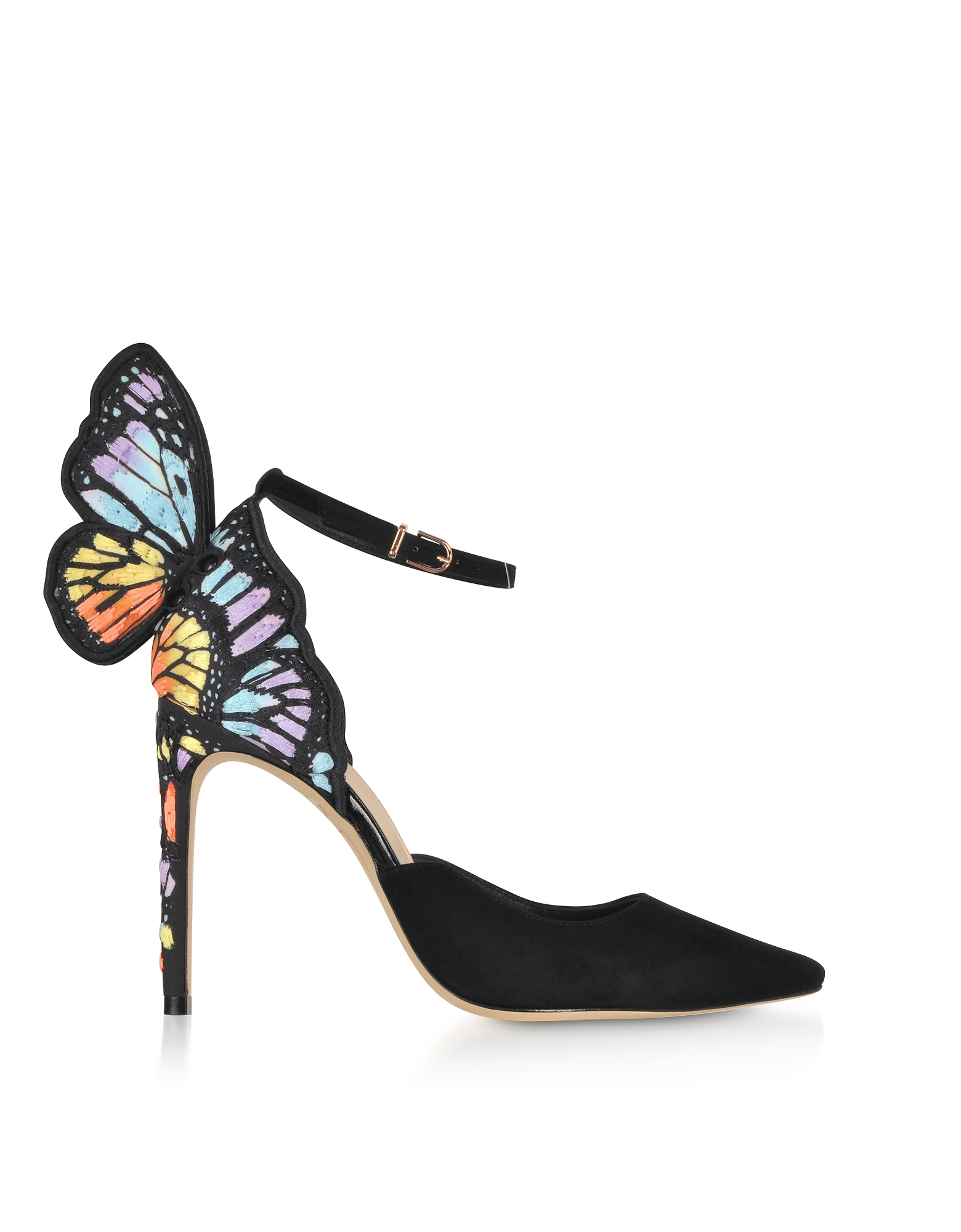 Black & Rainbow Chiara Embroidery D'orsay High Heel Pumps
