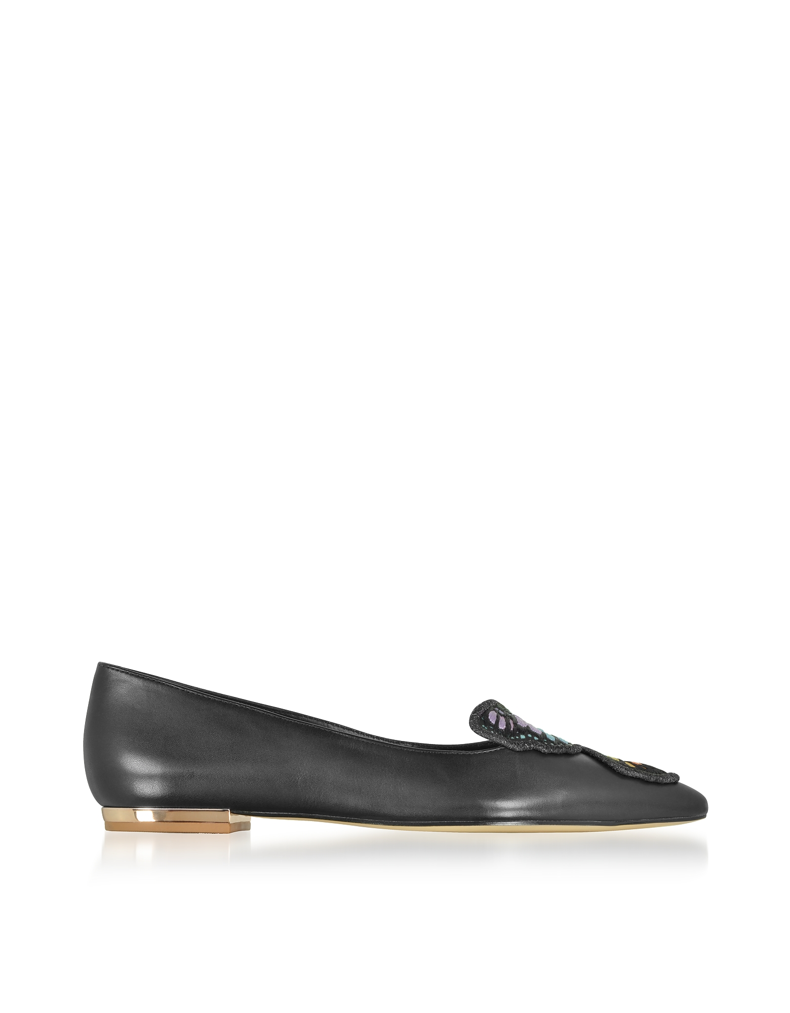 Sophia Webster Shoes, Black Leather Bibi Butterfly Flat Ballerinas
