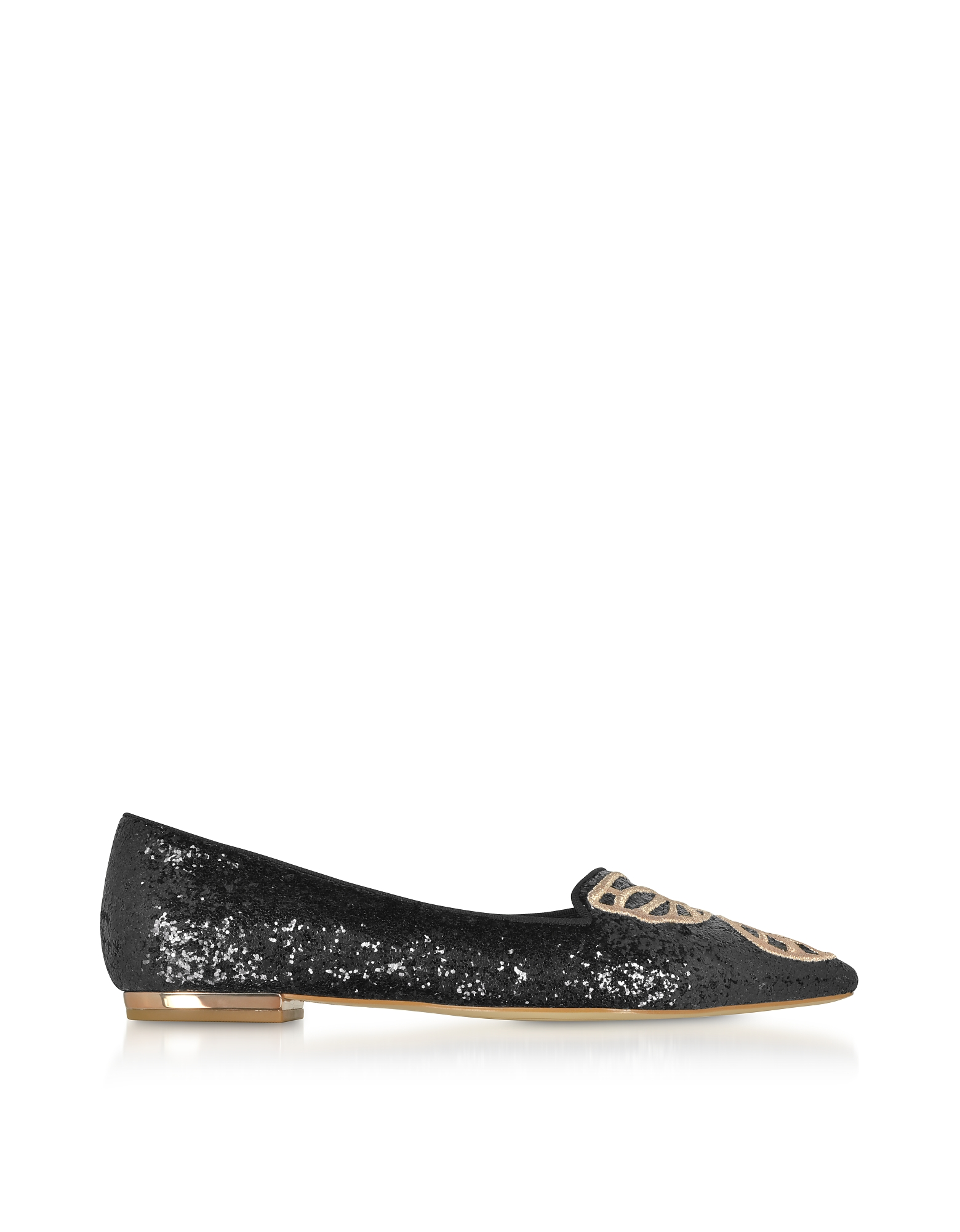 Black and Rose Gold Bibi Butterfly Flat Ballerinas