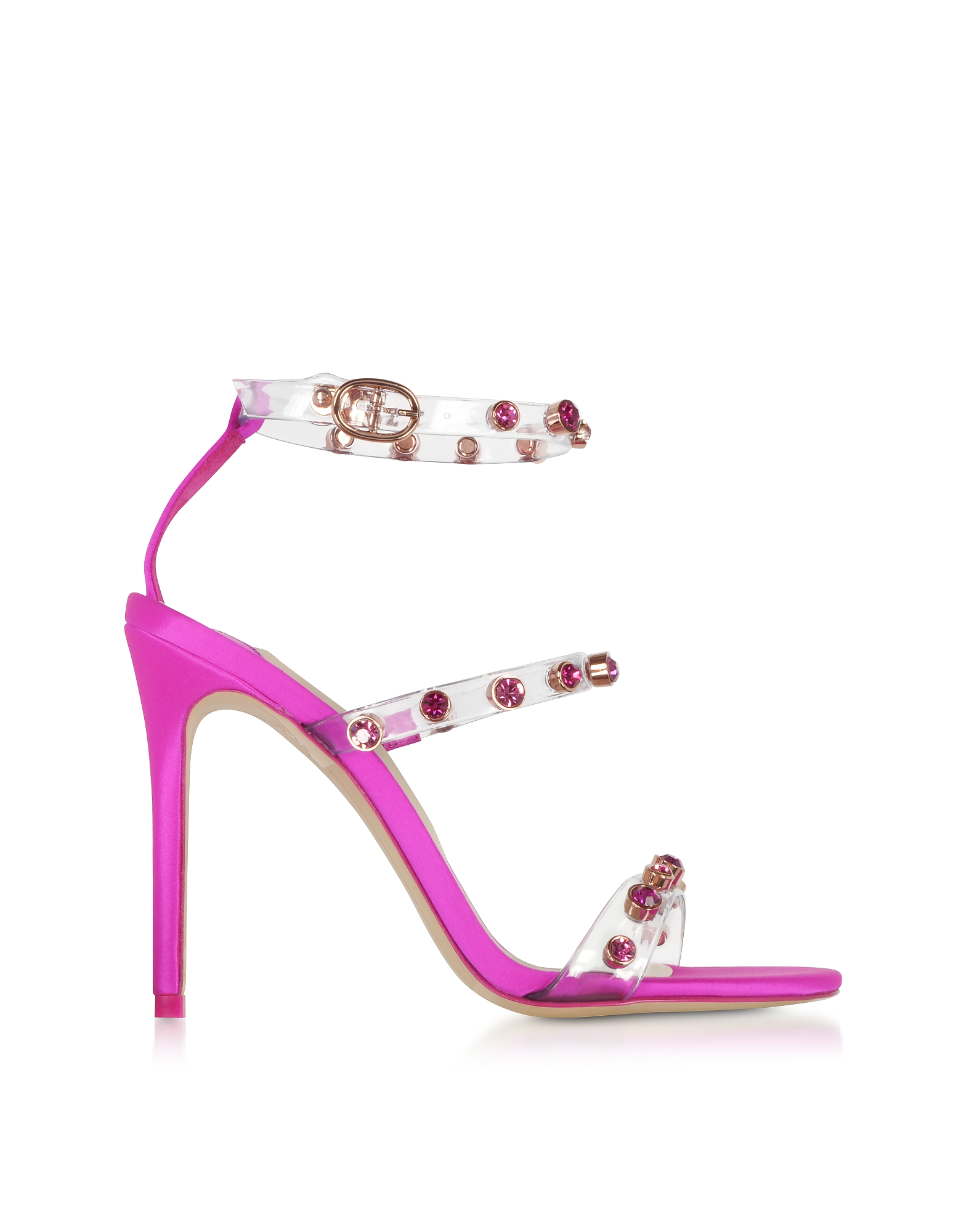 Sophia Webster Shoes, Fuchsia Vinyl and Satin Rosalind Gem Sandals