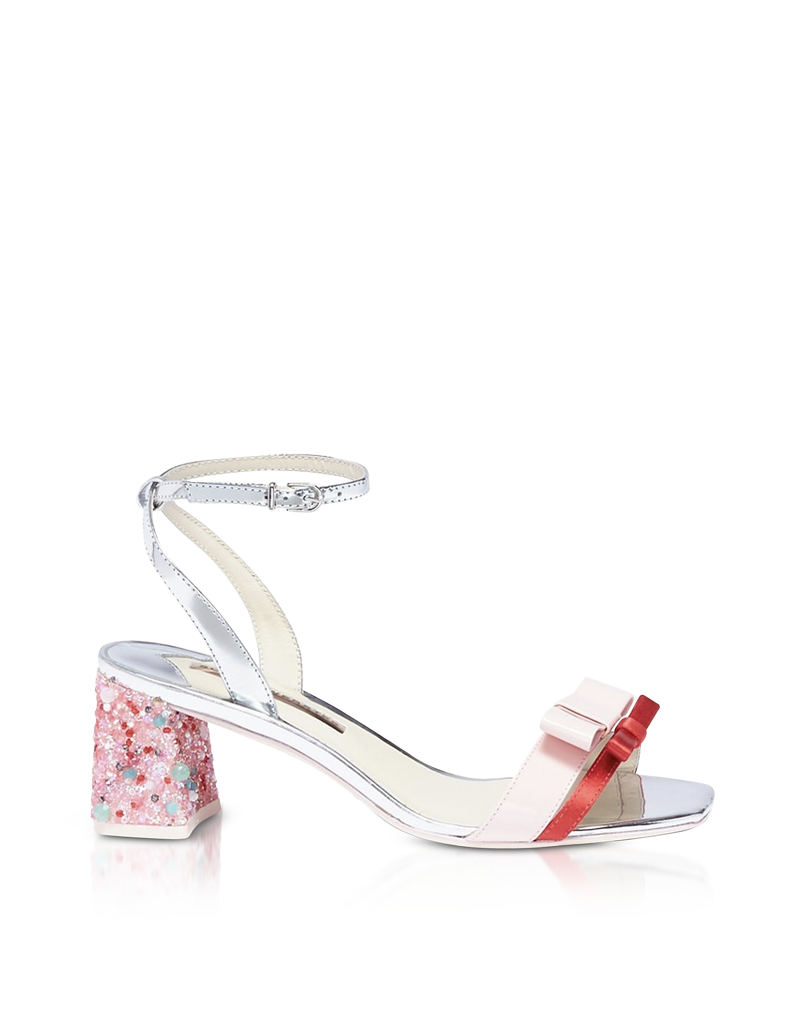 Red Satin and Pink Leather Andie Mid Heel Sandals