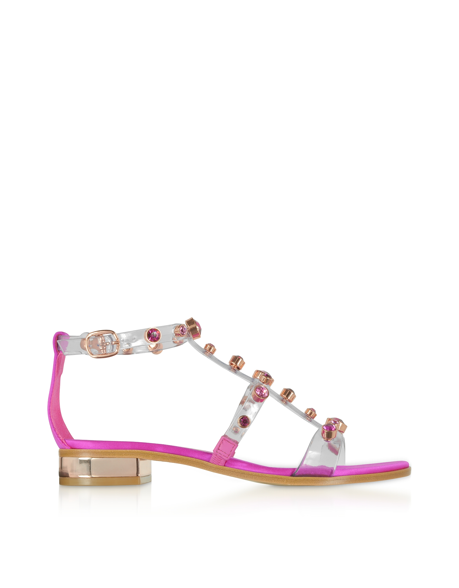Transparent Vinyl and Satin Dina Flat Sandals