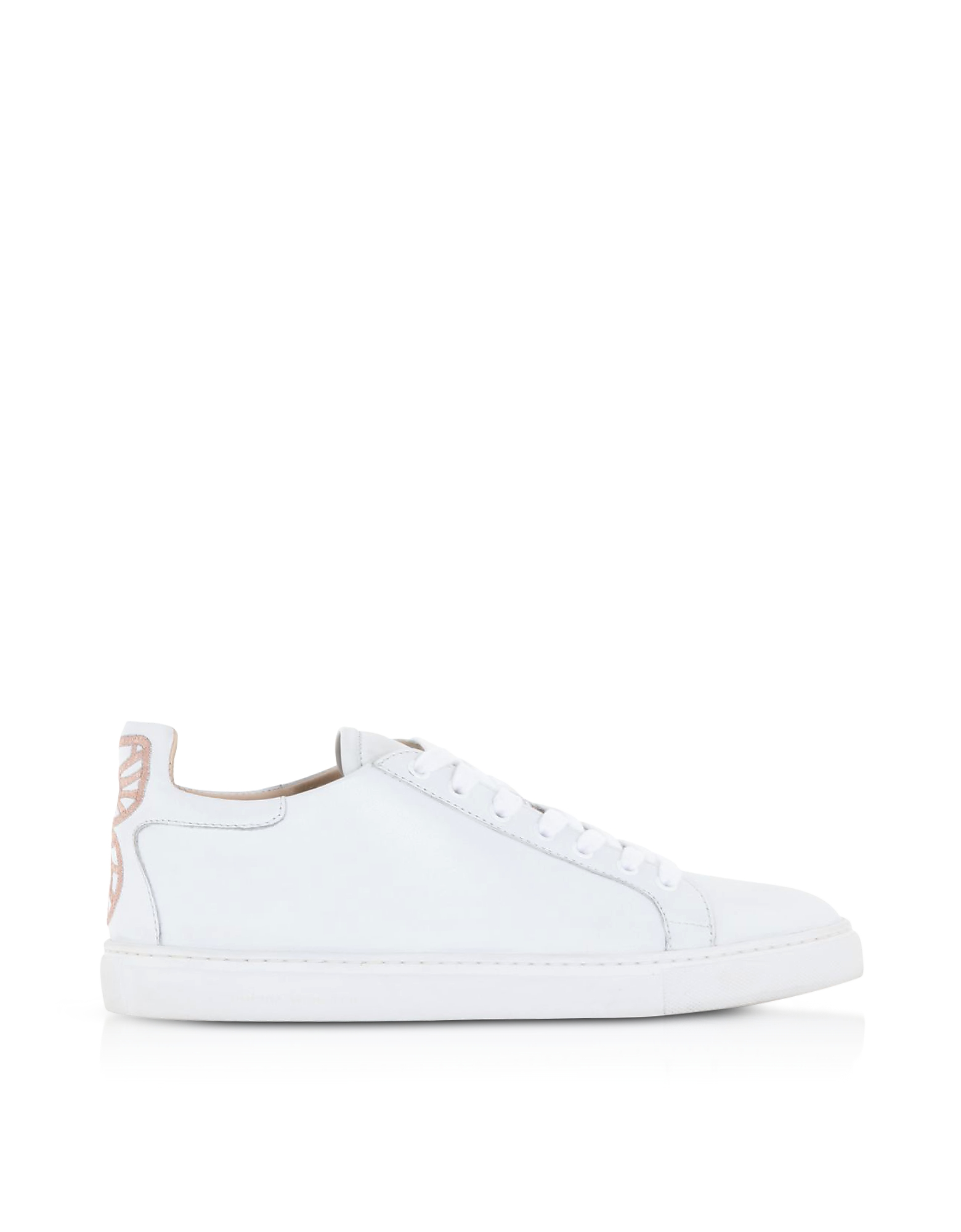 Sophia Webster Designer Shoes Bibi White and Baby Pink Low Top Sneakers
