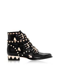Black and Rose Gold Riko Flat Biker Boots - Sophia Webster