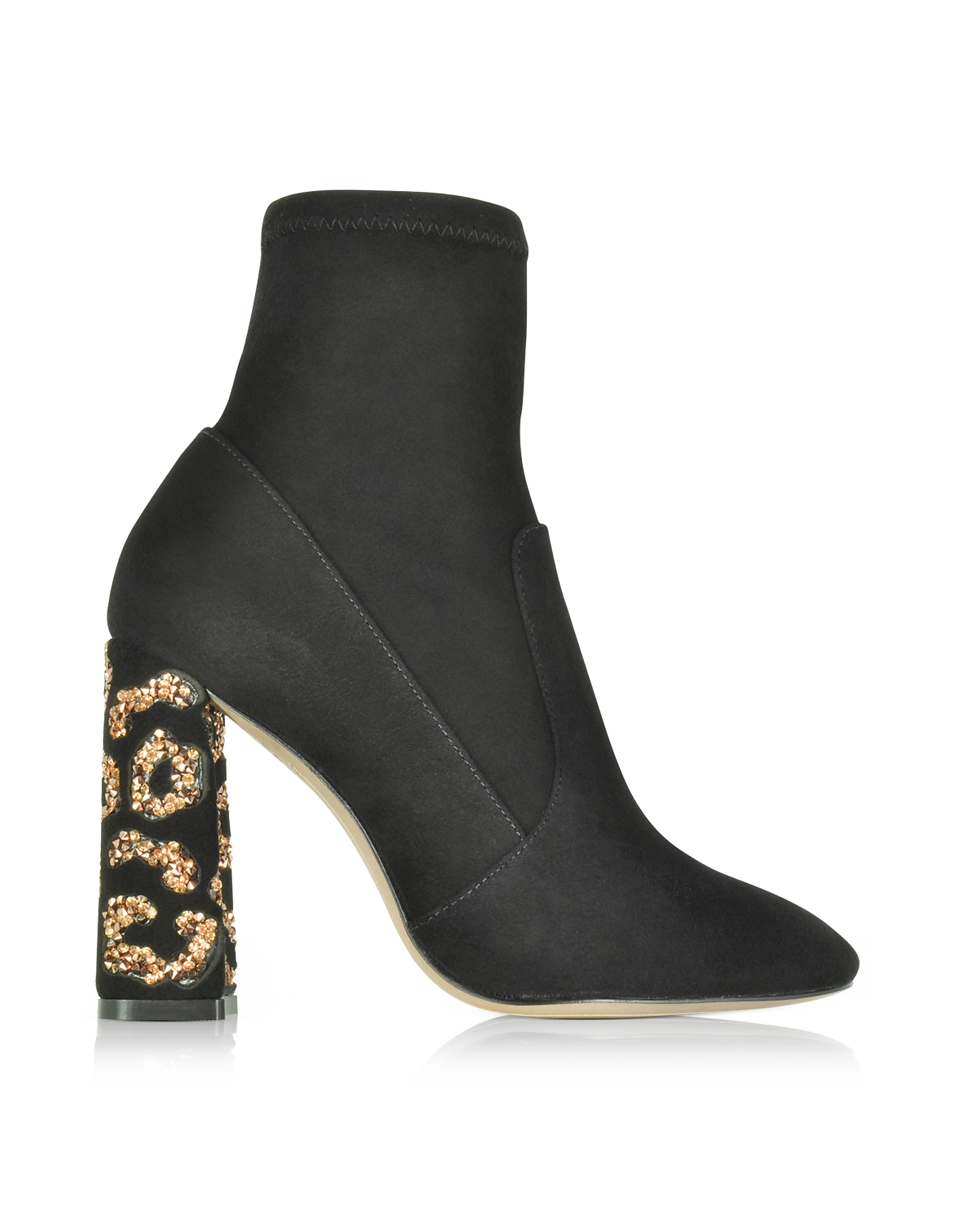 Sophia Webster Shoes, Black Felicity Leopard Ankle Boots w/Crystals