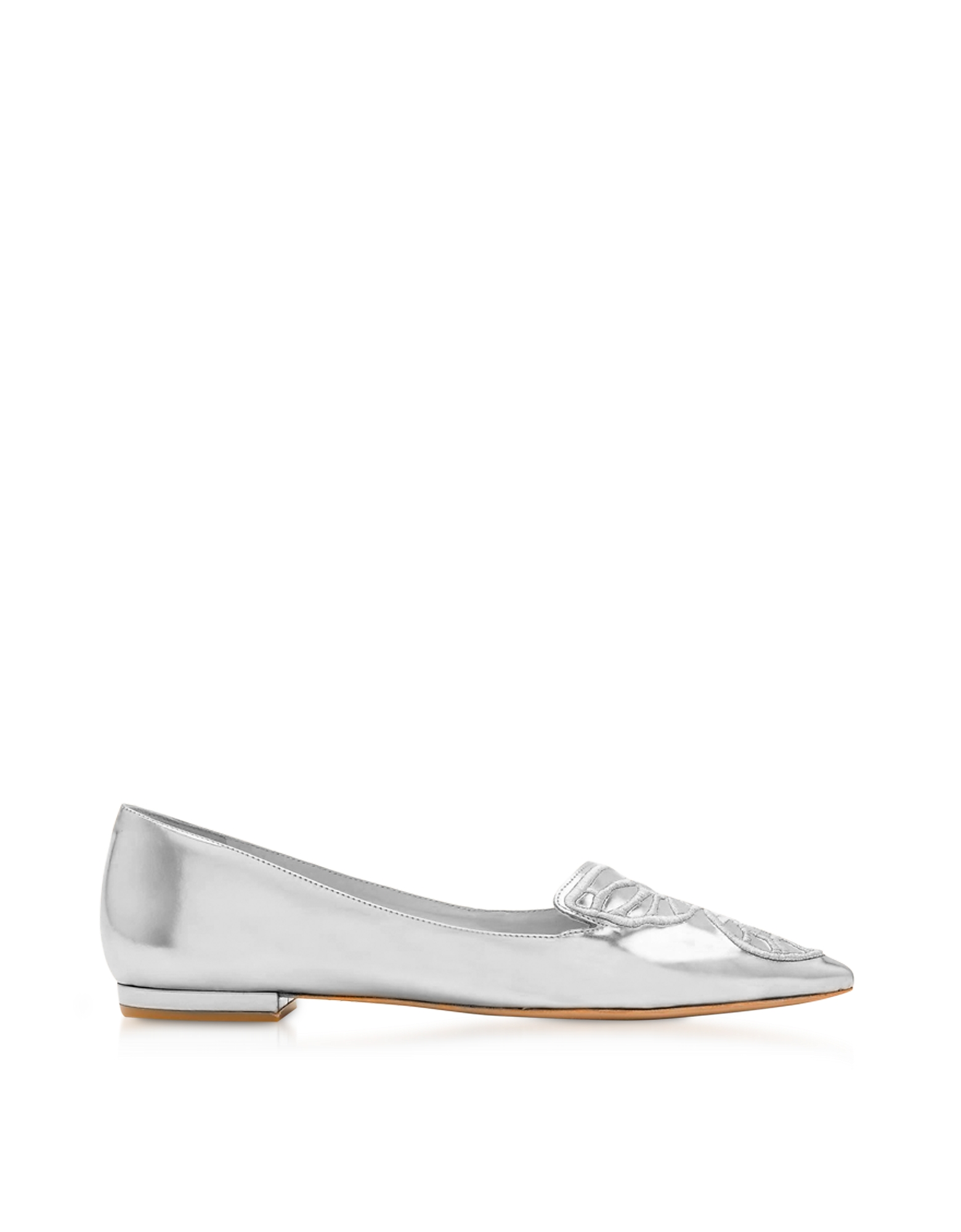 Sophia Webster Shoes, Silver Laminated Leather Bibi Butterfly Flat Ballerinas